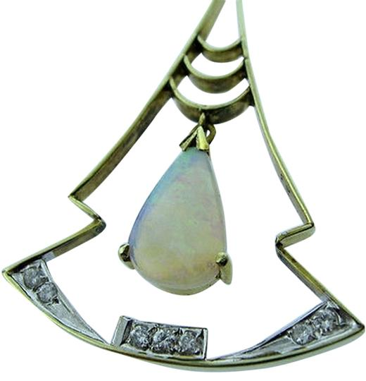 Other 14k,Yellow,Gold,Opal,Stone,Diamond,Pendant,Necklace,Charm