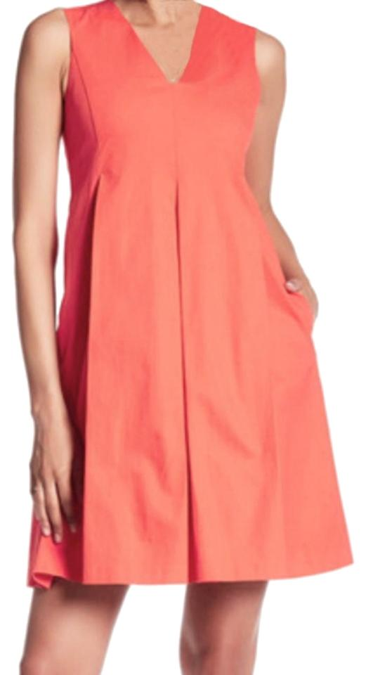71cfc938f00 Lands  End short dress Orange Side Pockets Lined Box Pleats Side Hidden Zip  V Neck ...