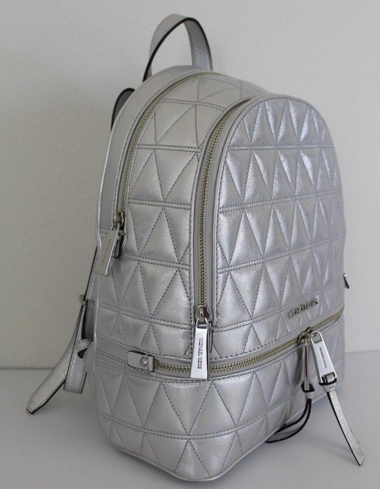 0d3b686afa6c Michael Kors Rhea Zip Medium Silver Leather Backpack - Tradesy