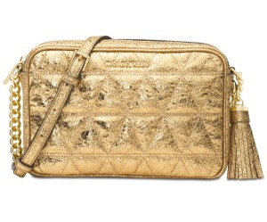7eb6718506b7 Michael Kors Ginny Metallic Quilted-leather Pale Gold Gold Leather Cross  Body Bag