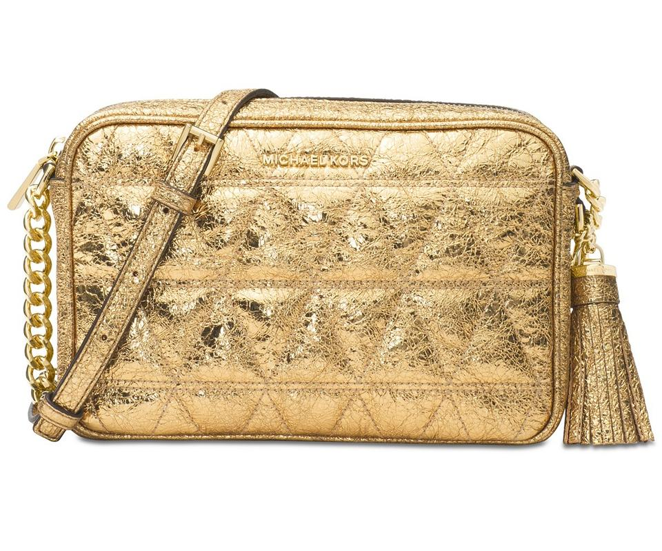 71408289f434a7 Michael Kors Ginny Metallic Quilted-leather Pale Gold/Gold Leather Cross  Body Bag