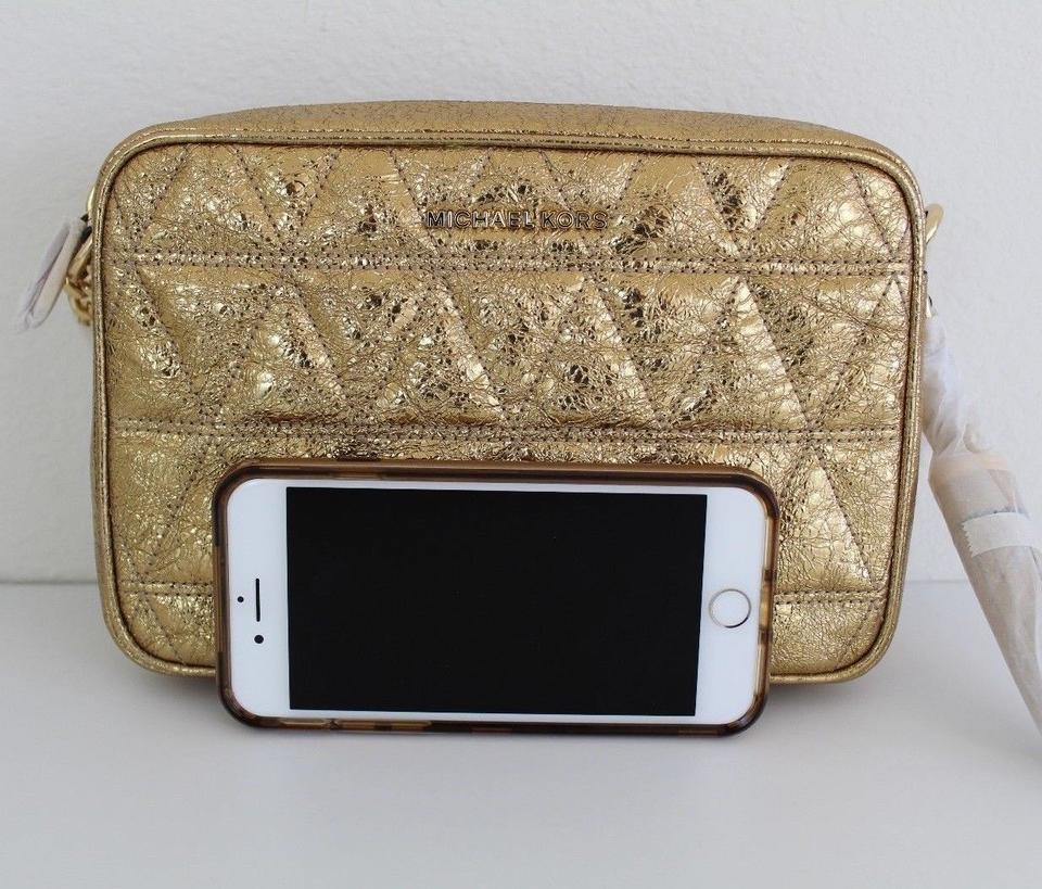 fbc2ab10f8b0 Michael Kors Ginny Metallic Quilted-leather Pale Gold/Gold Leather Cross  Body Bag - Tradesy