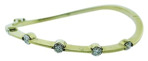 14k,Yellow,Gold,Ladies,Diamond,Twisted,Bracelet,Bangle,1.00ct