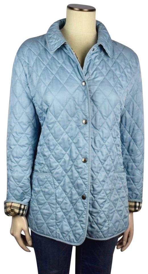 Burberry London Blue Nova Check Womens Quilted Coat Large Jacket ... d40472ea1f