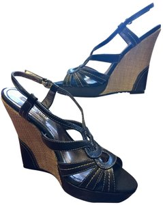 Charles David Leather Sandal Black/Neutral Wedges