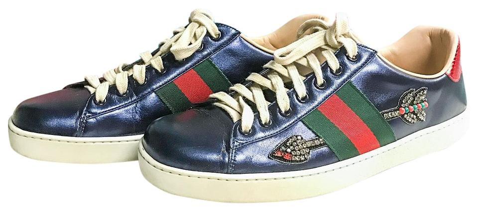 15382f60112 Gucci Metallic Leather Arrow Embroidered Ace Sneakers Blue Athletic Image 0  ...