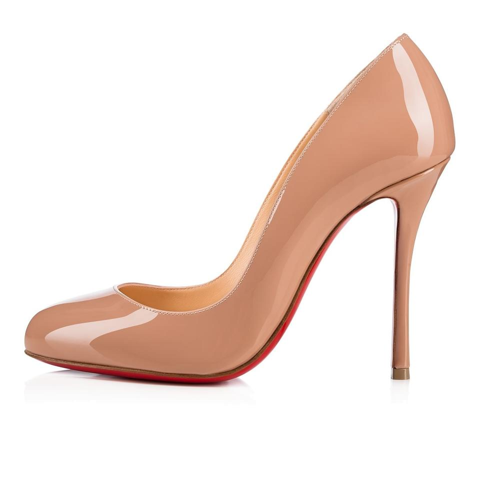 c25812dfff1 Christian Louboutin Heels Patent Leather Merci Allen Nude Pumps Image 0 ...