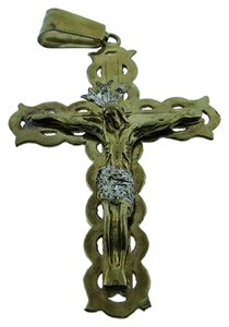 Fine,Estate,10k,Yellow,Gold,Jesus,Cross,Pendant