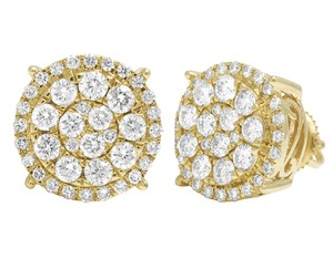 Jewelry Unlimited 10K Yellow Gold Round Cluster Halo Diamond Stud Earrings 13mm 2CT