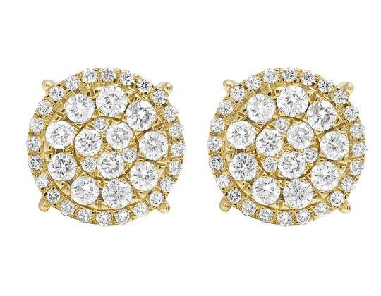 Jewelry Unlimited 10K Yellow Gold Round Cluster Halo Diamond Stud Earrings 13mm 2CT Image 1