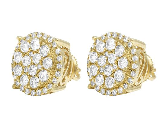 Jewelry Unlimited 10K Yellow Gold Round Cluster Halo Diamond Stud Earrings 13mm 2CT Image 2
