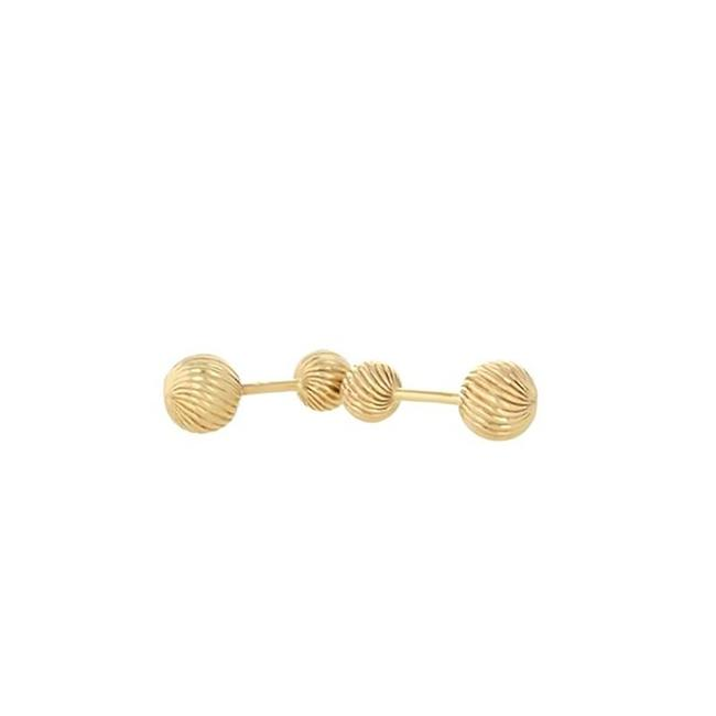 Item - Yellow Gold Retro Dumbbell Vintage For Men (9032) Cufflinks/Studs