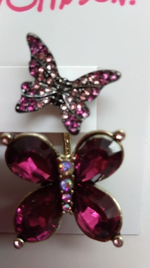 Betsey Johnson Betsey Johnson New Hot Pink Butterfly Earrings Image 1