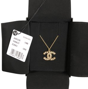 Chanel Chanel CC Crystal & Pearl Logo Gold Tone Adjustable Necklace
