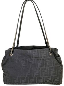 Fendi Vintage Nylon Silver Hardware Tote Shoulder Bag