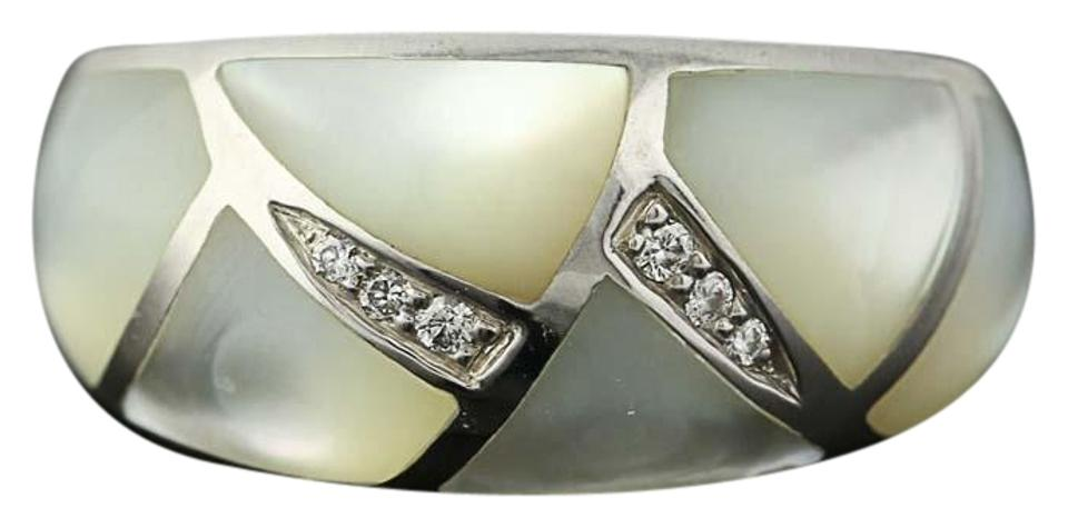 fe162fa31808d9 Kabana NEW Kabana Mother of Pearl Ring - 14k White Gold Diamond Accents  Size Image 0 ...