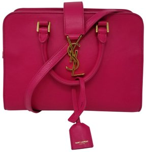 Saint Laurent New Leather Ysl Satchel in Fuschia