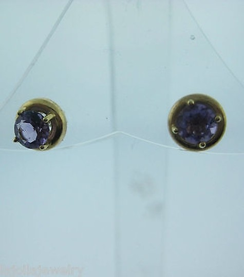 Other Fine,Estate,14k,Yellow,Gold,Purple,Stone,Stud,Earrings,