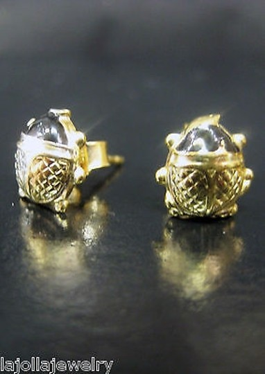 Other Fine,Estate,18k,Yellow,Gold,Enamel,Lady,Bug,Earrings,