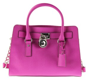 Michael Kors East Fuschia Lock Tote Convertible Satchel in PInk