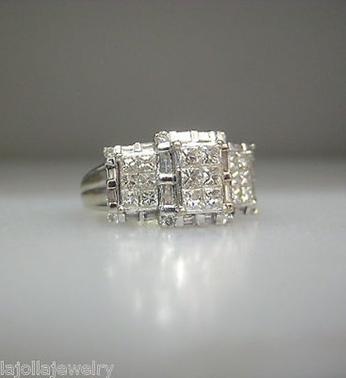 Other 14k,White,Gold,Princess,Cut,Invisible,Set,Diamonds,Ladies,Ring,,