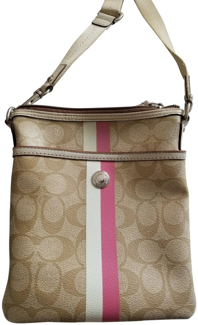 Item - Messenger Detail Beige with Pink Accent Leather Cross Body Bag