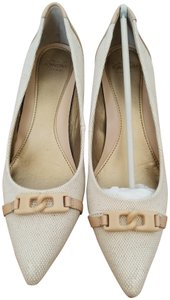 Circa Joan & David Canvas Leather Beige Pumps