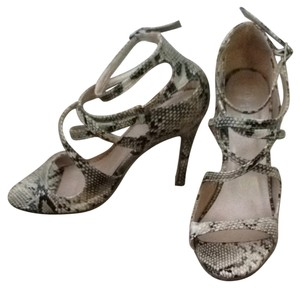 Charlotte Russe Black And Tan Snakeskin Sandals