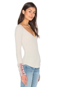 Free People Aztec Longsleeve T Shirt Taupe