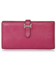 Hermès Hermes Rose Tyrien Chevre Mysore Leather Bearn Wallet with Box