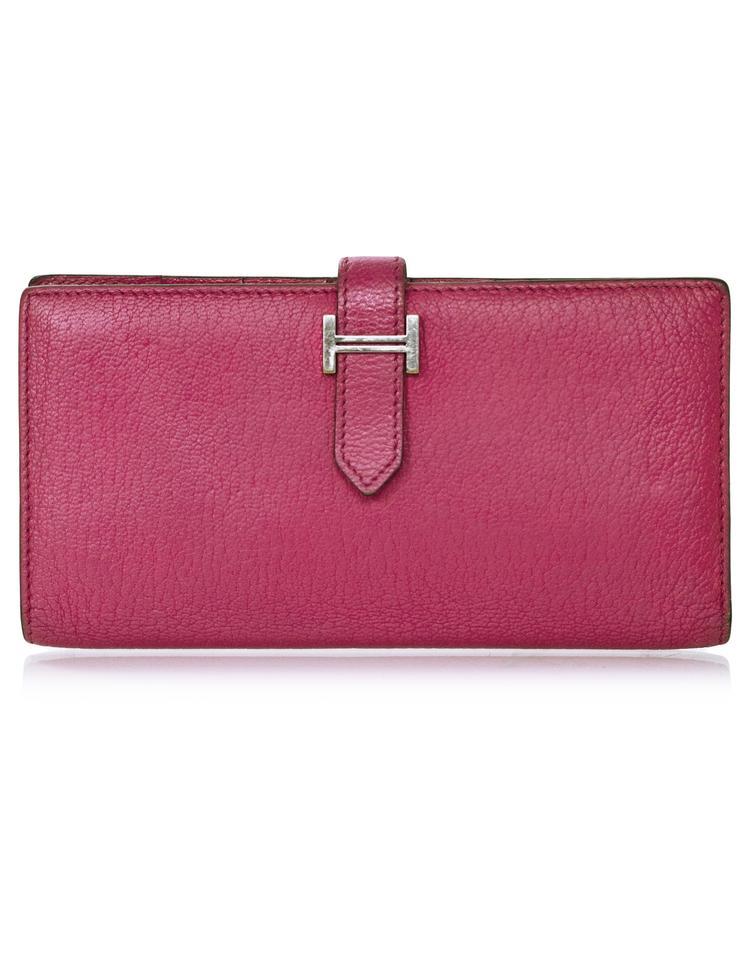 cf06db419e24 Hermès Hermes Rose Tyrien Chevre Mysore Leather Bearn Wallet with Box Image  0 ...