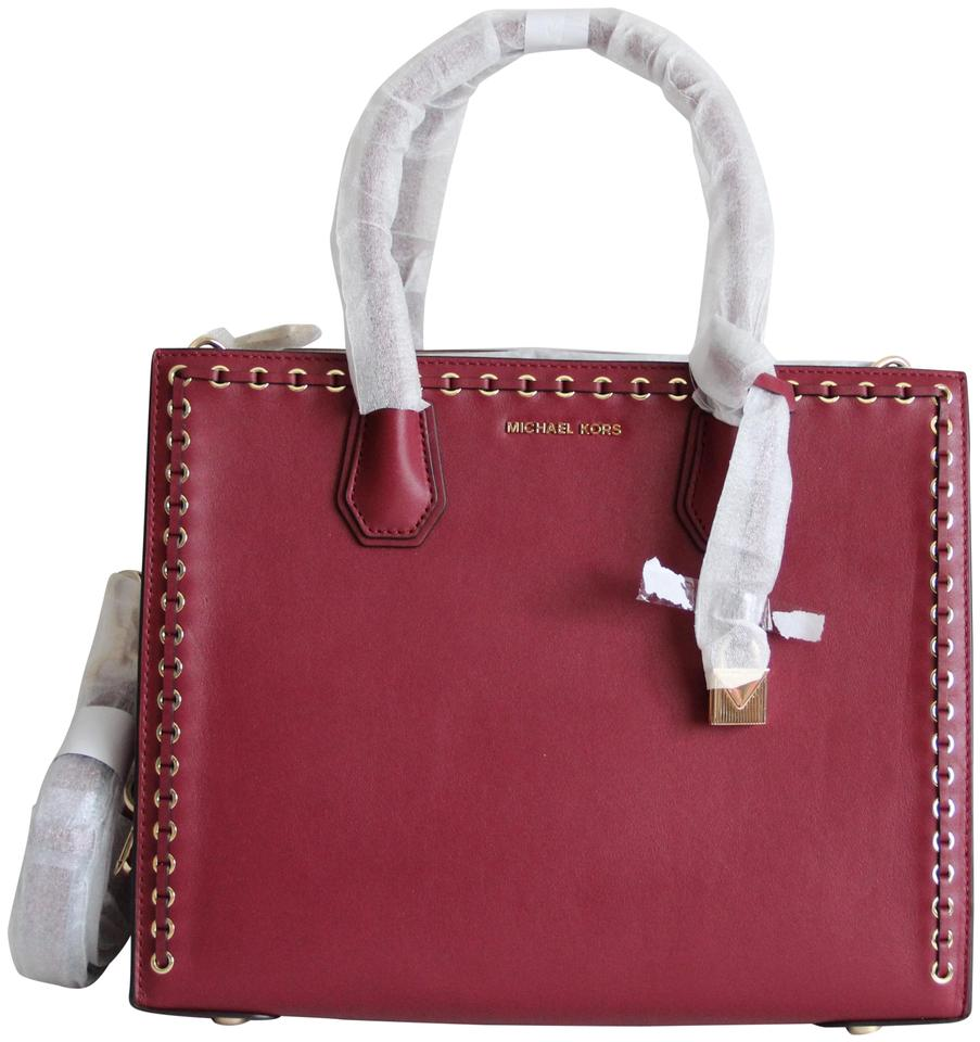 921981ea4b34 Michael Kors Mercer Grommet Large Convertible Red Leather Tote - Tradesy