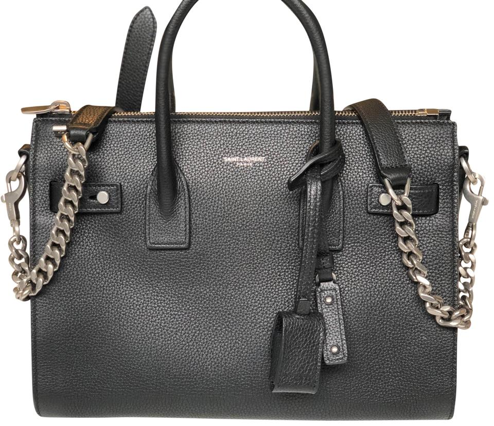 2181b65e Saint Laurent Sac de Jour Duffle Baby Souple In Grained Black Leather  Shoulder Bag 24% off retail
