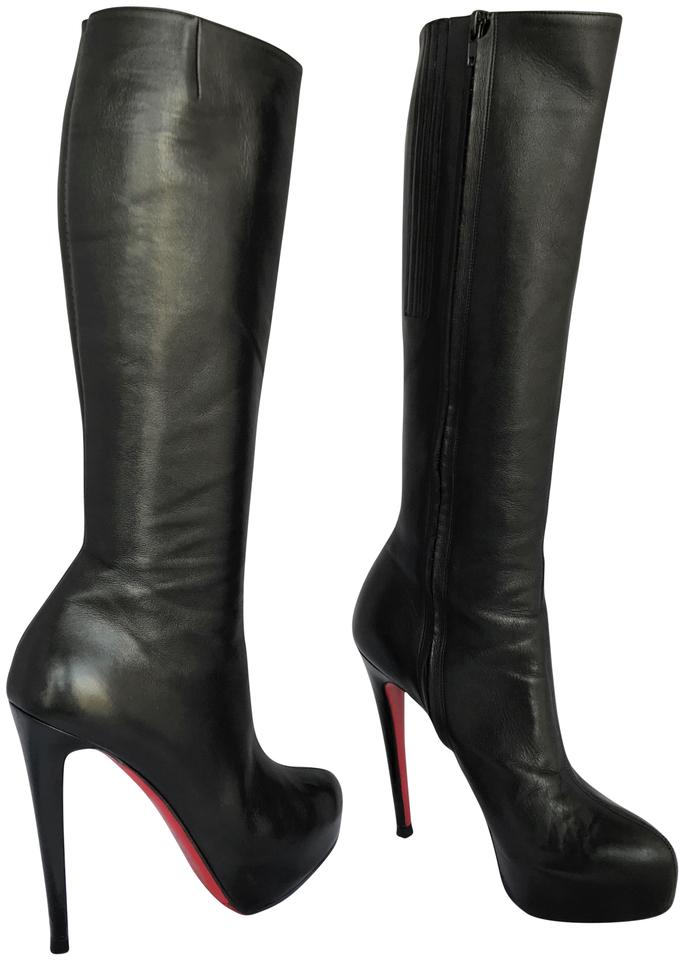 size 40 2739f ca97d Christian Louboutin Black Knee High Heel Alti Lady Fashion Red Sole Toe Zip  Leather Italy Boots/Booties Size EU 38 (Approx. US 8) Regular (M, B)