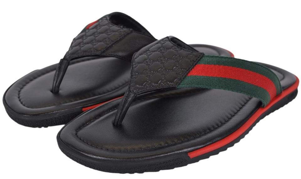 1b483683ec6 Gucci Black New Men s 268670 Leather Web Stripe Flip 6 G Sandals Size US 7  Regular (M