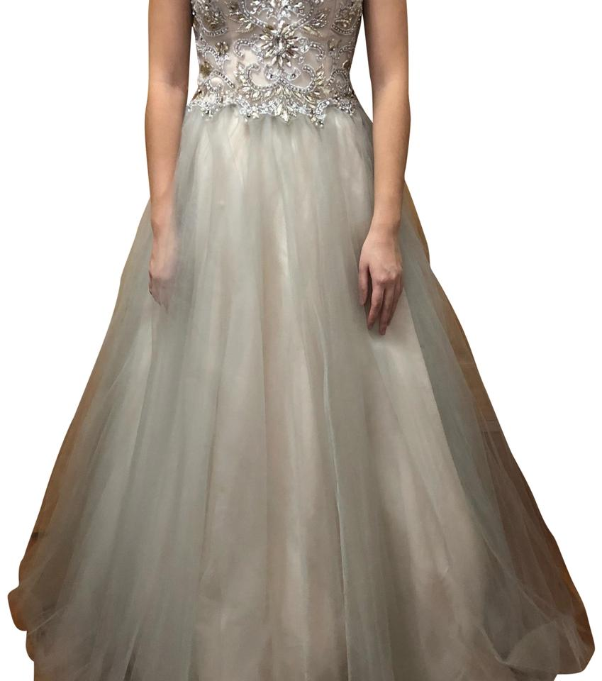 Camille la Vie Ivory/Silver Strapless Prom/Formal Long ... - photo #4