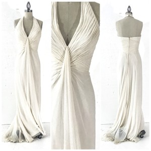 Pamella Roland White Silk Chiffon Ivory Bridal Grecian Simple Formal Wedding Dress Size 4 (S)