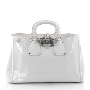 4af5b78206cd Prada Crystal Double Handle Tote in off-white