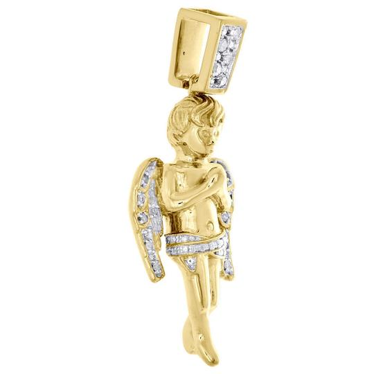 Jewelry For Less Diamond Angel Pendant 925 Sterling Silver Yellow Finish Charm 1/8 CT. Image 1