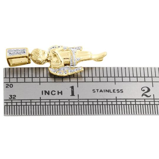 Jewelry For Less Diamond Angel Pendant 925 Sterling Silver Yellow Finish Charm 1/8 CT. Image 3