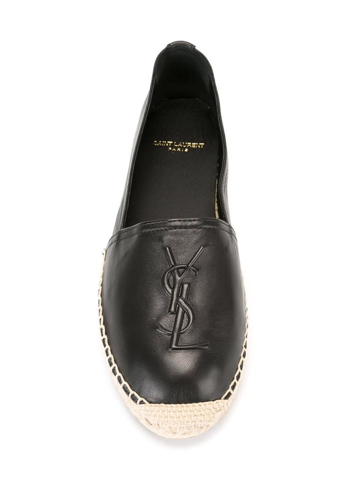 Saint Laurent Black Ysl Leather Embossed Logo Espadrille