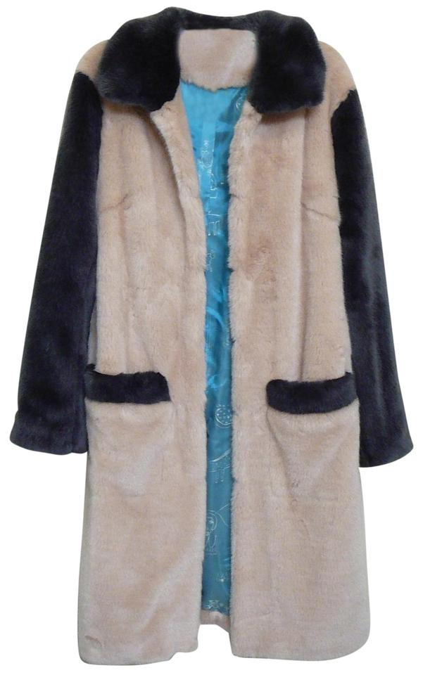 Shrimps Pink And Gray Faux W Blue Lining Uk 10 Us Coat Size 6 S