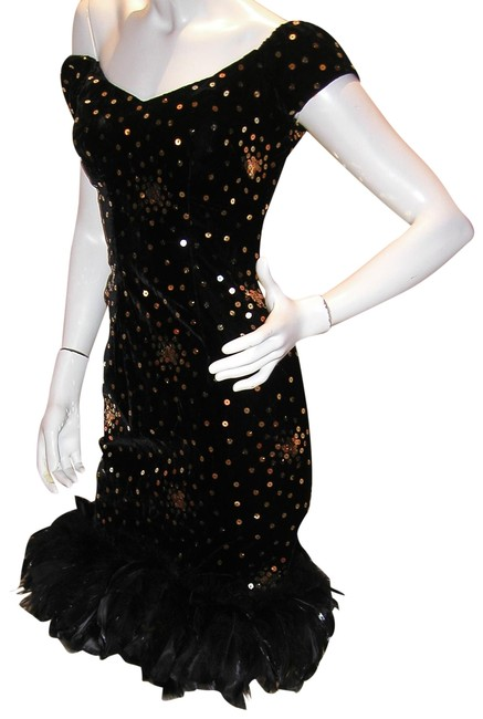 Just Female Feathers Sequin Sequin Vintage Dress Image 1