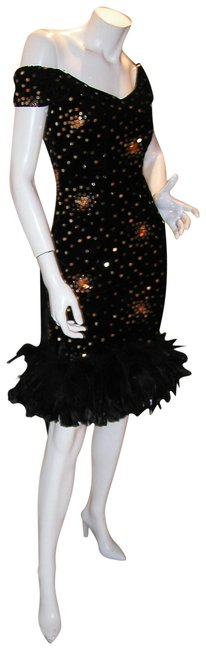 Just Female Feathers Sequin Sequin Vintage Dress Image 4