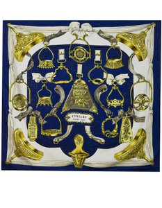 Herms Hermes Blue & Gold Etriers Silk 90cm Scarf