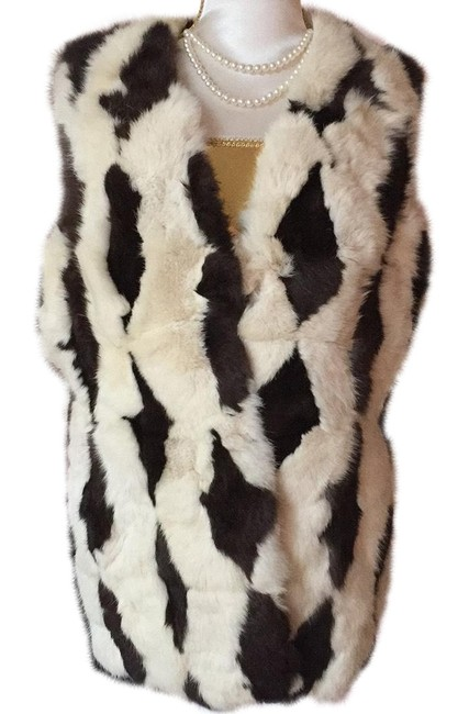 Item - Ivory and Brown Vest Size 6 (S)