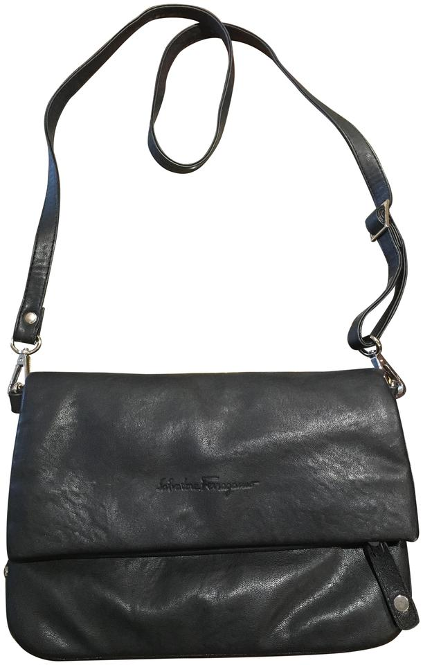 bc92f90fd42e Salvatore Ferragamo Fold Over Black Leather Cross Body Bag - Tradesy