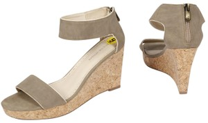 Adrienne Vittadini Open Toe Wedge Taupe Sandals