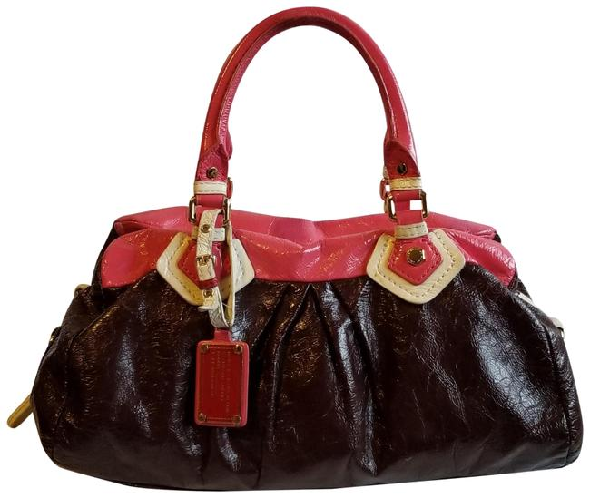 Item - Shoulder Bag Soft Satchel/ Pink Cream and Brown Patent Leather Satchel