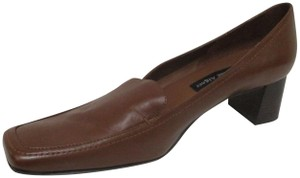 Etienne Aigner Square Toe Stacked Heel Loafer Made In Brazil Leather Upper Brown Pumps